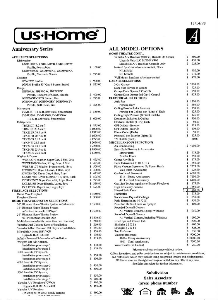Anniversary Price List for Options